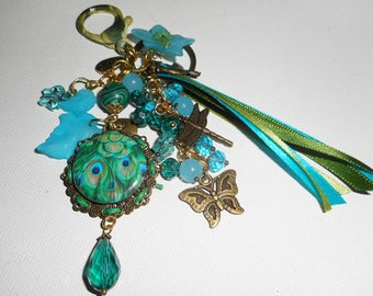 Jewelry bag/key Peacock with glass beads and green and Blue Crystal and matching ribbons