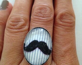 "Beautiful ring adjustable silver Metal Vintage ""Whiskers"""