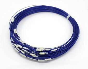 set of 2 blue semi-rigid cable Choker