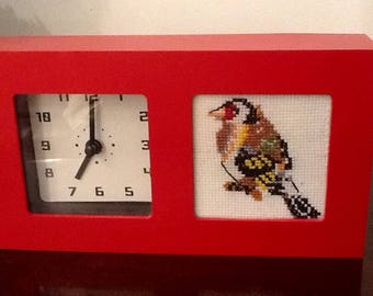 Alarm clock red ask embroidered bird decor