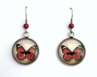 Red Butterfly dangling earrings, fancy stainless steel and glass dome cabochon earrings