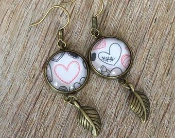 Glass cabochon, heart earrings