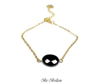 Gold plated bracelet 24KT and black onyx bead