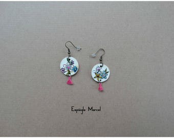 Earrings - dangle earrings in porcelain - flowers.