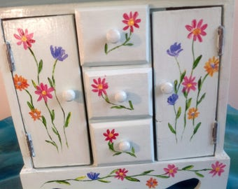 Small wooden cabinet makeover decor - wooden jewelry box