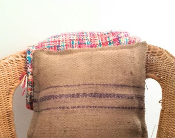 Unique piece. in genuine burlap pillow