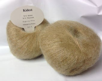 wool - knit / 10 balls of yarn kid mohair / / made in France