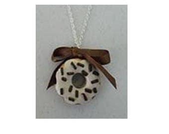 Chocolate vanilla donut necklace