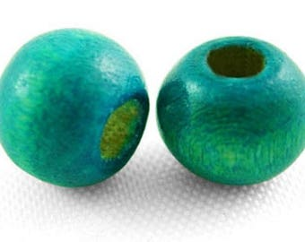 100 ROUND 7 X 6 MM NEW BLUE GREEN WOODEN BEADS