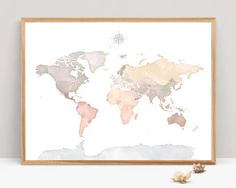 WATERCOLOR MAP of the World PRINTABLE, Large World Map Antarctica Print, World Map Wall Art, Pastel Color Map Poster, Large Poster Download