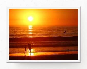 Beach Sunset Print - Beach Download, Orange Decor, Beach House Decor, Sunset Art Print, Beach Printable, Sunset Art, Beach Sunset Poster