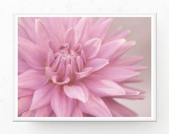PASTEL PINK PRINT, Pink Dahlia, Pastel Wall Art, Pastel Printable Art, Pink Bedroom Wall Art, Flower Photography, Pink Dahlia Photo, Pastel