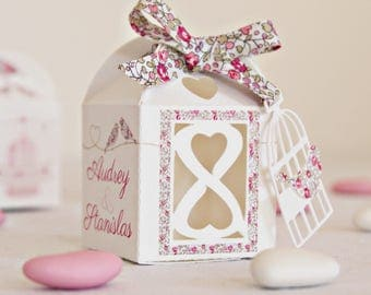 """Box dragees wedding """"cages and birds in liberty Eloise pink"""""""