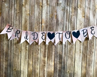 Bride to Be Banner- Watercolor Stone Pink and Blue