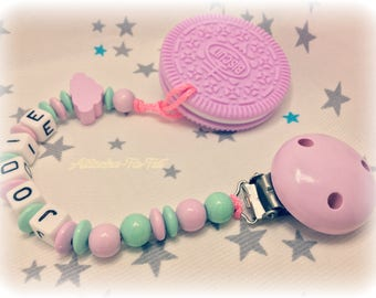 Custom clip + teether, cookie, cloud, pink and Mint.