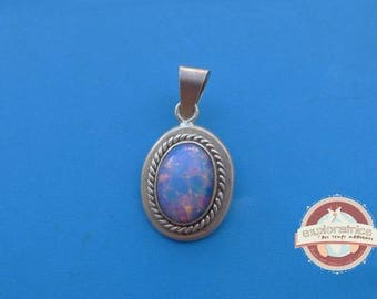 Silver Oval Pendant and stone Opal 21X40mm