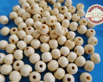50 PC wood beads 7mm beige bone
