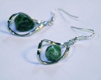 Twist and jade earrings