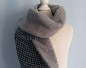 Scarf gray Argyle fleece and cotton