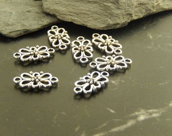 10 antique silver flower connectors