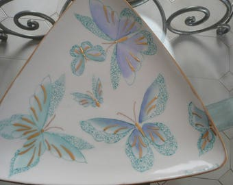 Porcelain triangular dish: with turquoise butterflies