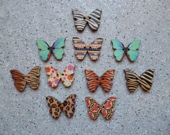 Lot de 10 Boutons forme papillons en bois 20 x 22 mm, boutons bois, couture, tricot, crochet, scrapbooking