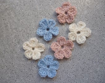 Handmade crochet wool, 6 beautiful flowers