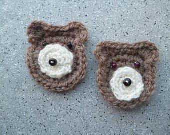 Lot de 2 Ours miniatures au crochet en laine et petites perles, customisation, crochet, tricot, appliqués ours, scrapbooking