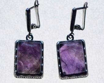 Earrings Stone - Semi Precious - Crystal Oblong Amethyst Earrings Hypo Allergenic - Earrings Set