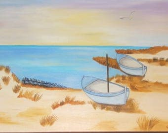 painted with oil called boats on the beach