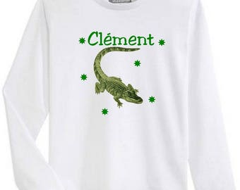 Boy Crocodile personalized with name long sleeve t-shirt