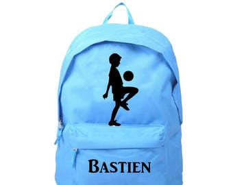 bag has blue little soccer player personalized with name