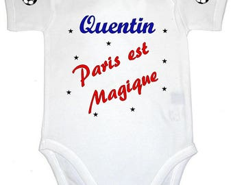 Paris Bodysuit is personalized with name