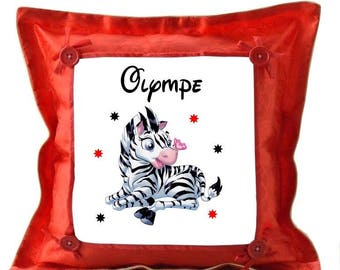 Little Zebra red pillow personalized with name