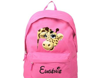 Backpack pink giraffe personalized with name