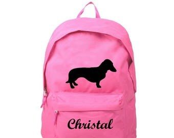 Backpack pink Dachshund personalized with name