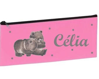 Kit school pink bears personalized with name