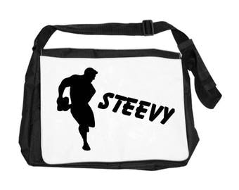 Personalized with name rugby player shoulder bag