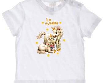 baby Unicorn personalized with name t-shirt