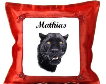 Red Black Panther custom cushion with name