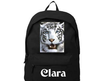 bag has black white tiger personalized with name