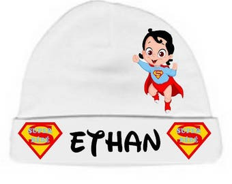Personalized with name White just Superbaby Brown Baby Hat
