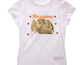 Tee shirt girl Bunny and cat personalized with name