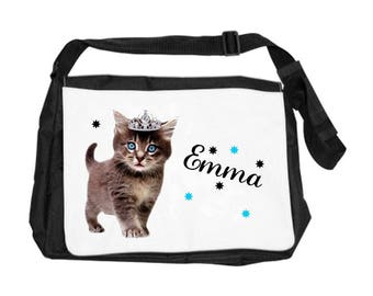 Shoulder bag cat and wreath personalized with name