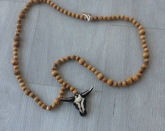 Necklace with Bull Head wooden beads