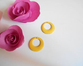 x 2 sequins enamelled yellow 18 mm