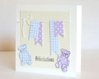 twin birth congratulations card: girl and boy