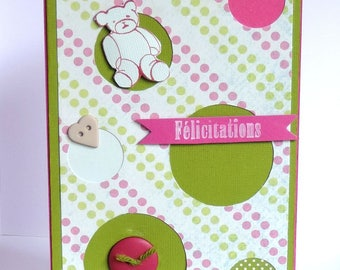 card congratulations baby girl, pink and green. Hand made