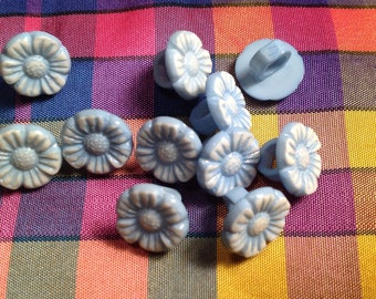 Set of 11 mini pale blue and white buttons