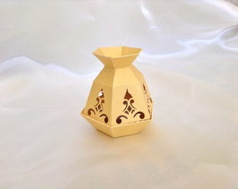 Oriental pot shaped candle